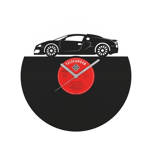 Bugatti Veyron laikrodis iš perdirbtos vinilinės plokštelės