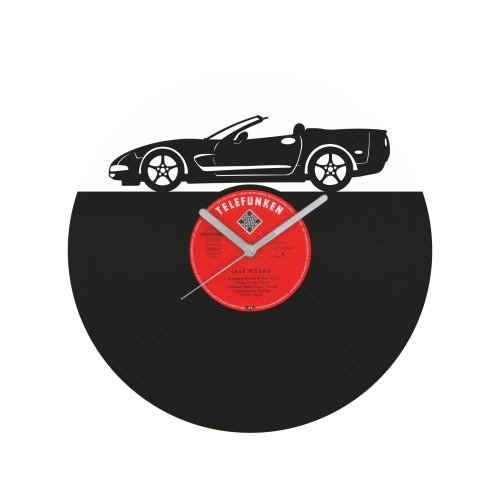 Chevrolet Corvette laikrodis iš perdirbtos vinilinės plokštelės
