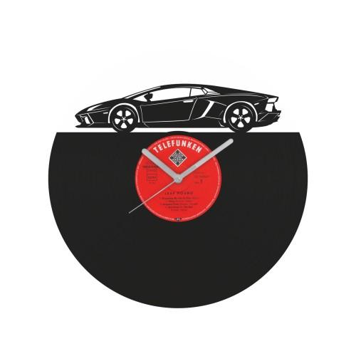Lamborghini Aventador laikrodis iš perdirbtos vinilinės plokštelės