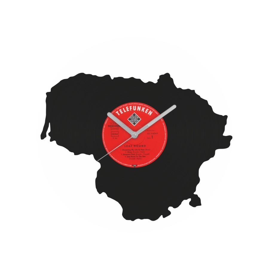 Lithuania laikrodis iš perdirbtos vinilinės plokštelės