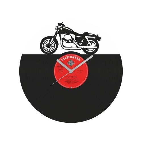 Motorcycle laikrodis iš perdirbtos vinilinės plokštelės
