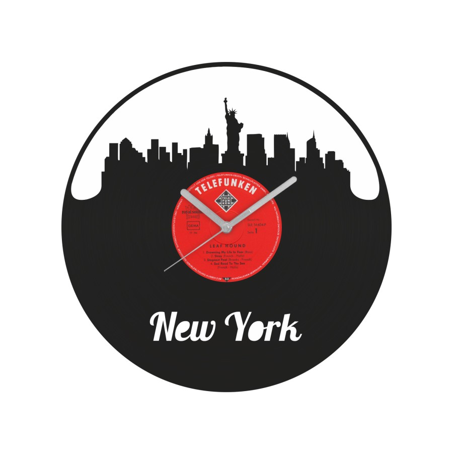 New York laikrodis iš perdirbtos vinilinės plokštelės