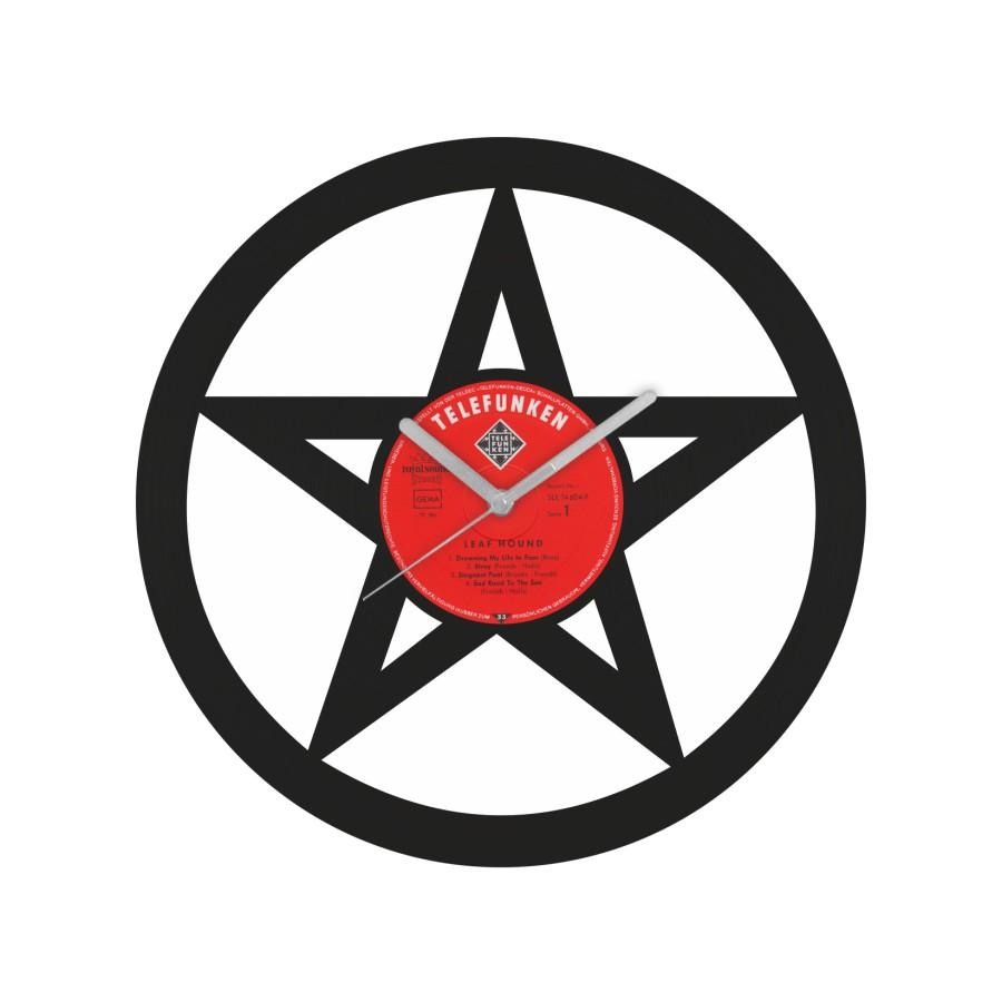 Pentagram laikrodis iš perdirbtos vinilinės plokštelės