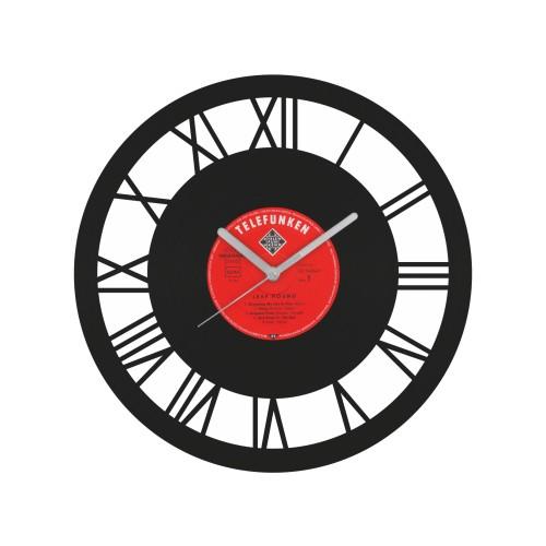 Romėniškas laikrodis iš perdirbtos vinilinės plokštelės